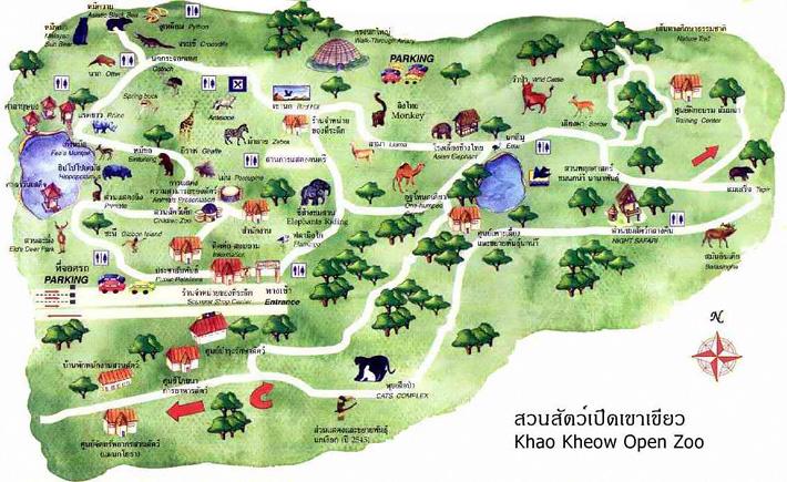 Карта открытого зоопарка Кхао Кхео Таиланд