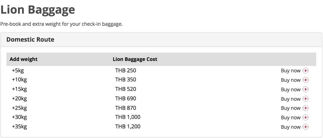 Доплата за багаж в Thai Lion Air