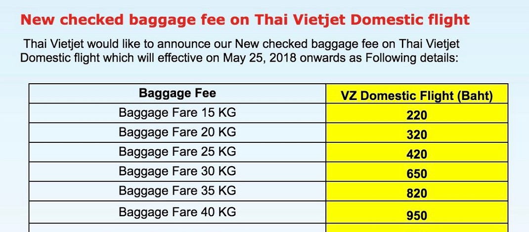 Доплата за багаж в Thai Vietjet Air