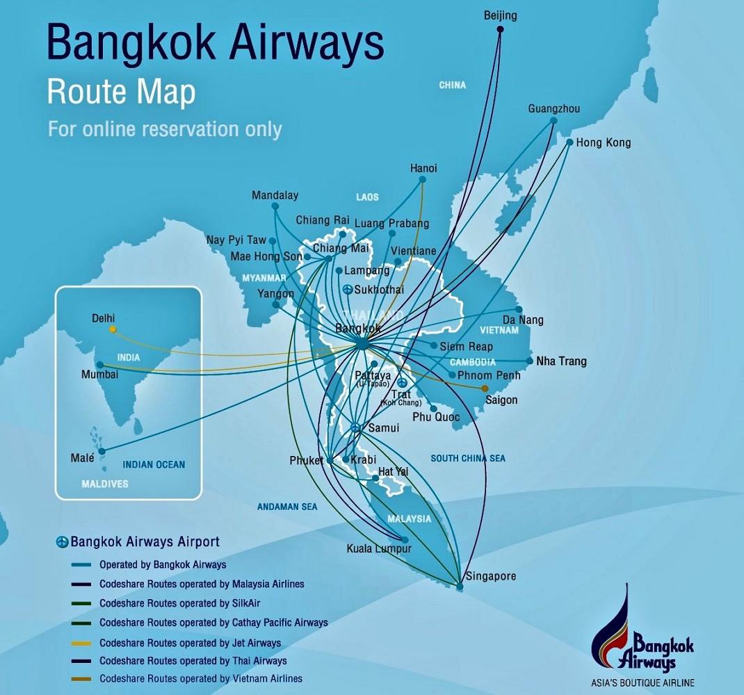 Маршруты полётов Bangkok Airways